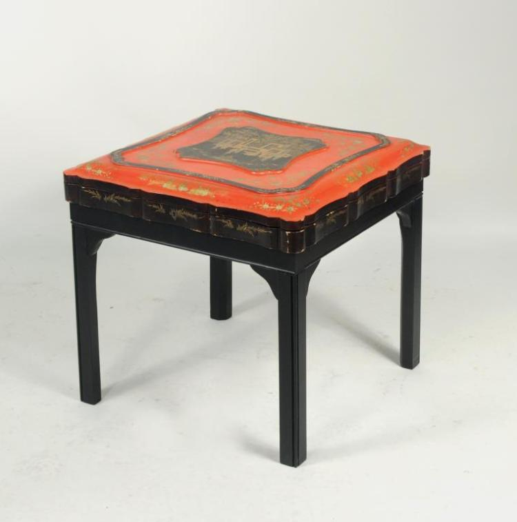 Chinese Export Gilt Lacquer Games Box