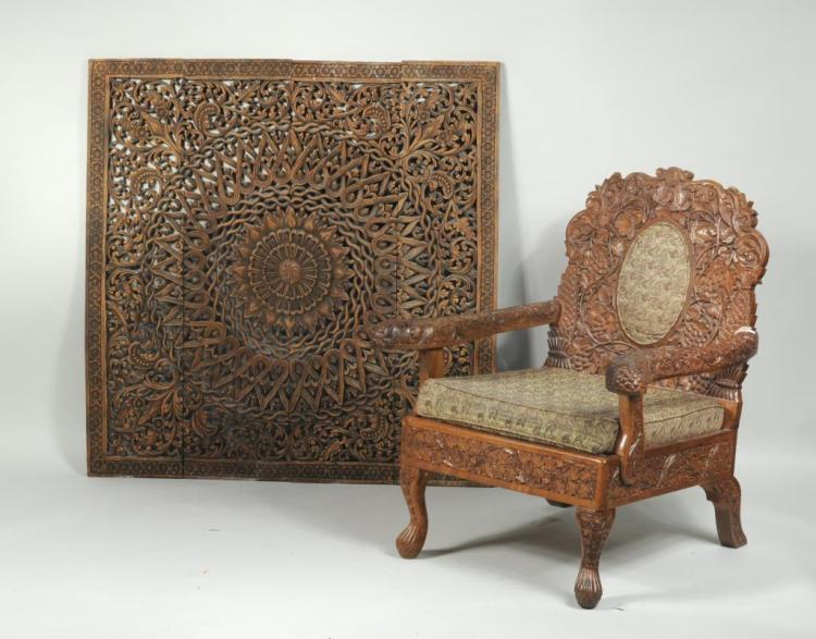 A Heavily Carved Indian Armchair, Thai Wood Screen
