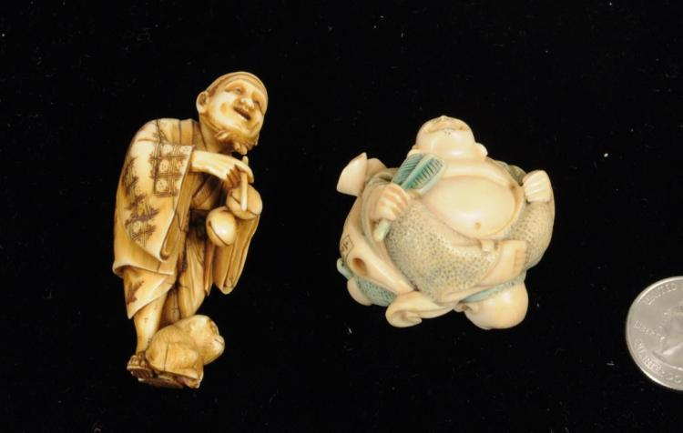 Two Japanese Carved Ivory Netsukes