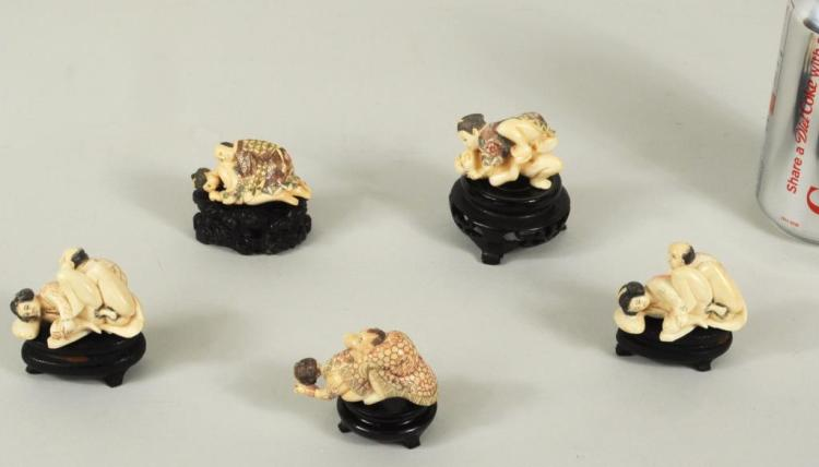 Group Five Japanese Ivory Erotic Pieces