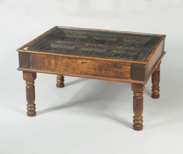 Eastern Carved Wood & Metal Mounted Coffee Table
