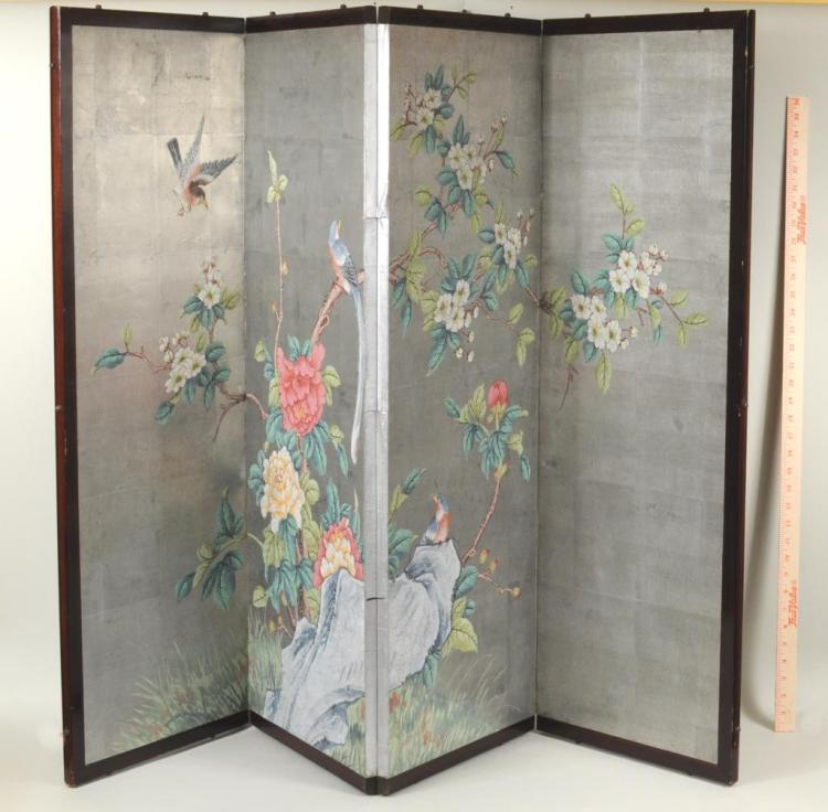 Asian Four Panel Hand Painted Screen