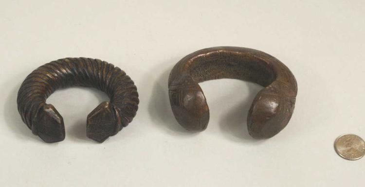 Two West African Bronze Currency Bangles