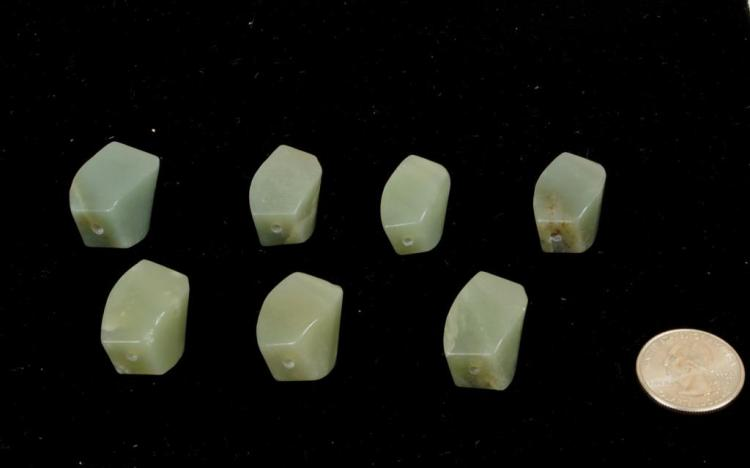 Group Seven Chinese Green Jade Beads