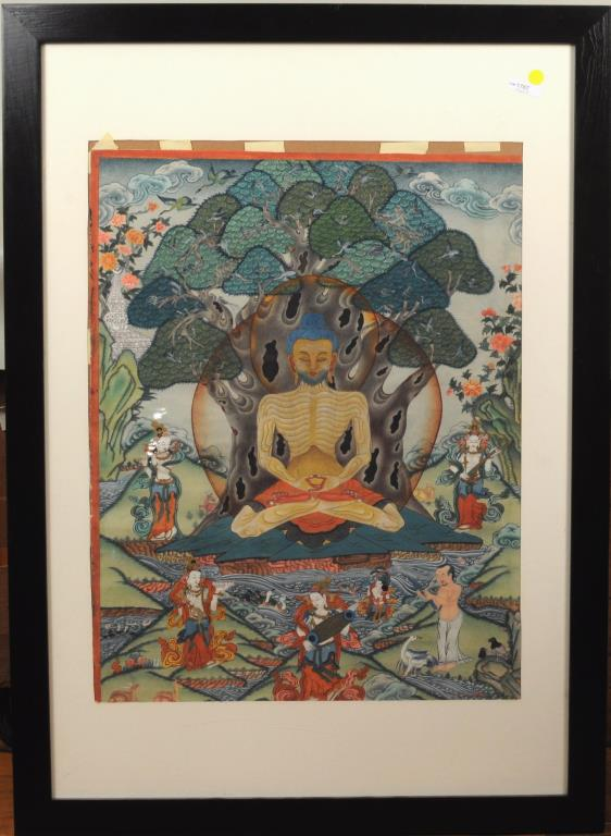 Framed Tibetan Thangka, Pigments On Fabric