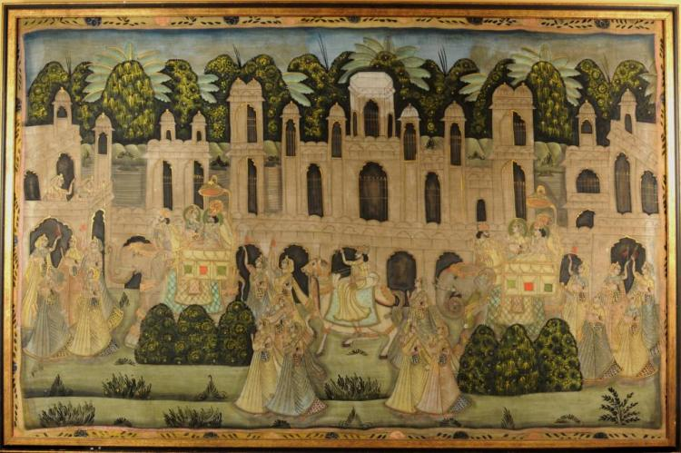 Large Framed Indian Painting On Fabric