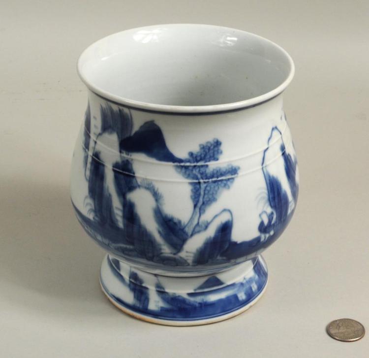 Large Chinese Blue & White Brush Pot