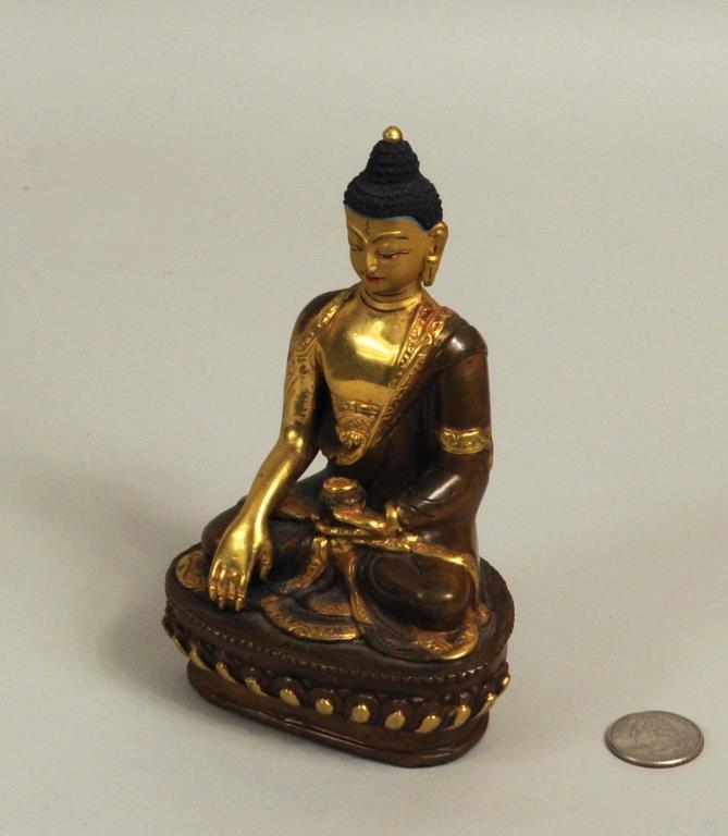 Chinese Gilt & Painted Bronze Shakyamuni Buddha
