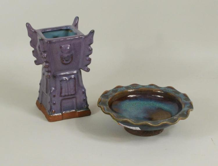 Two Chinese Glazed Pottery Items