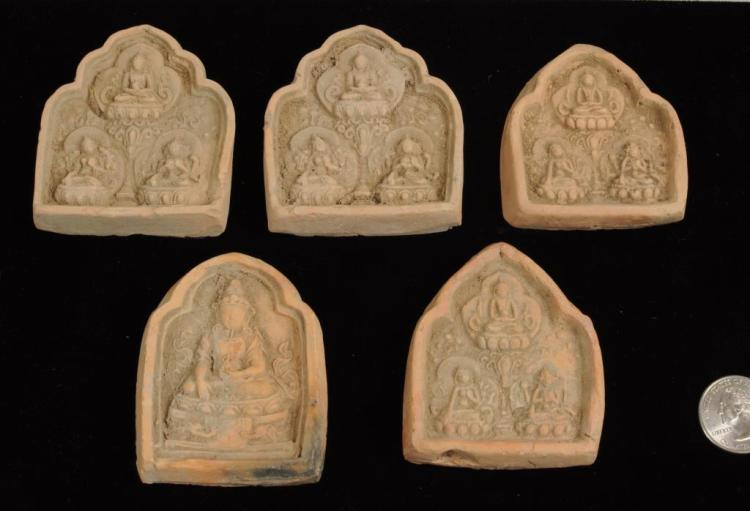 Group Five Buddhist Votive Plaques