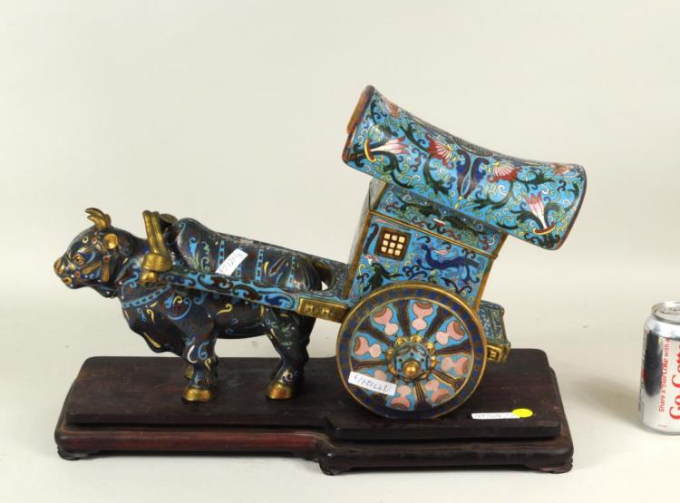 Chinese Brass Cloisonne Ox & Wagon Form Container