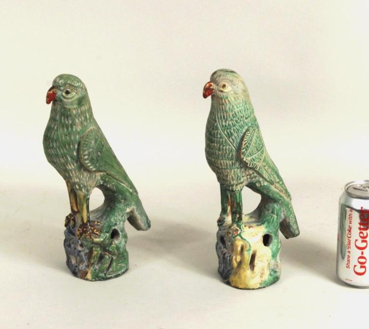 Pair Chinese Green Glazed Pottery Parrots/Rockwork