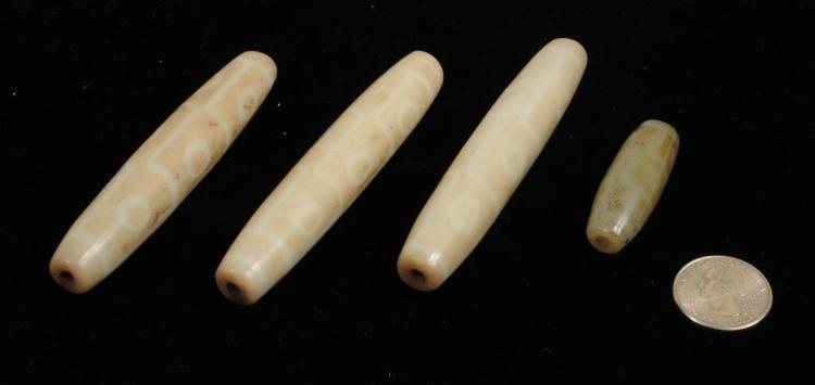 Four Tibetan Dzi Stone Beads