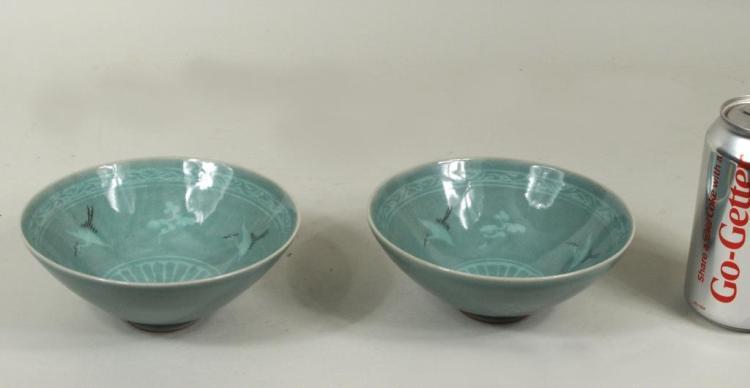 Pair Korean Celadon Porcelain Bowls