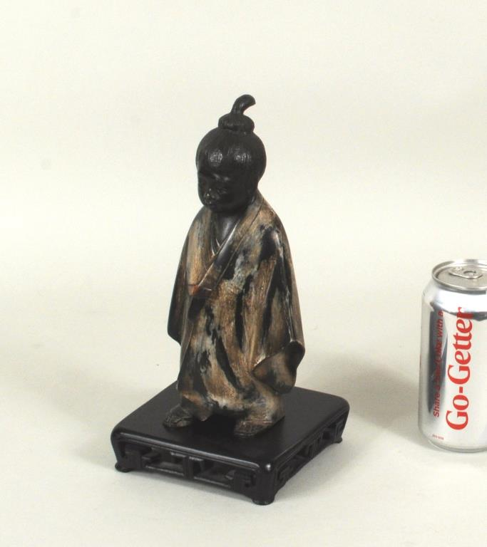 Japanese Polychromed Bronze Figure Child In Kimono