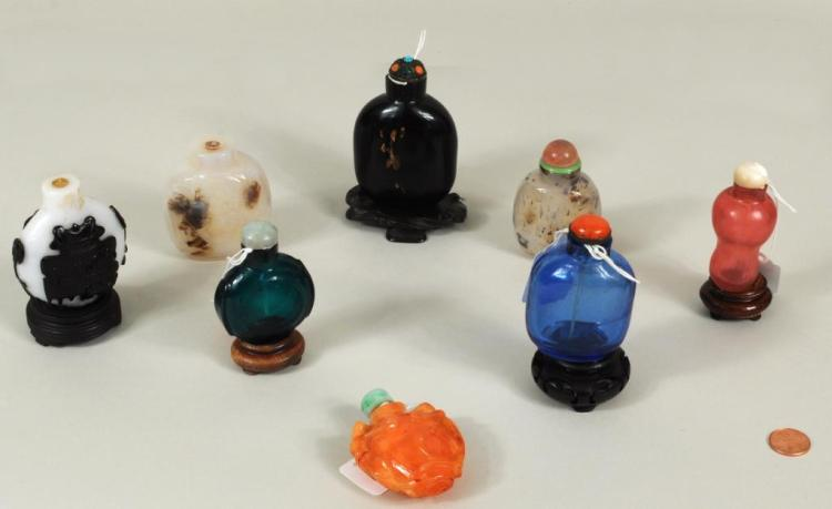 Eight Glass & Agate Snuff Bottles
