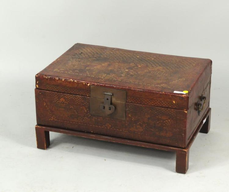 Asian Leather & Red Lacquered Box on Stand