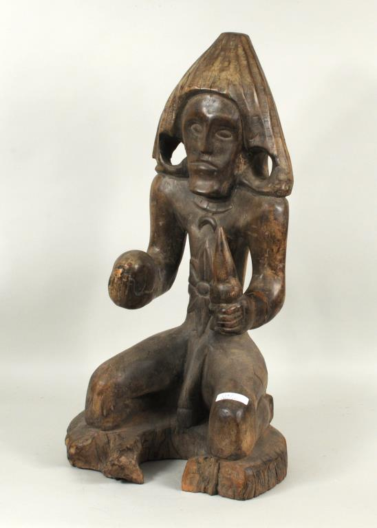 Polynesian Carved Wood Kneeling Figure
