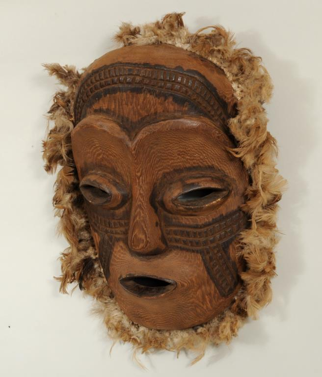 African Carved, Painted & Feather Decorated Mask