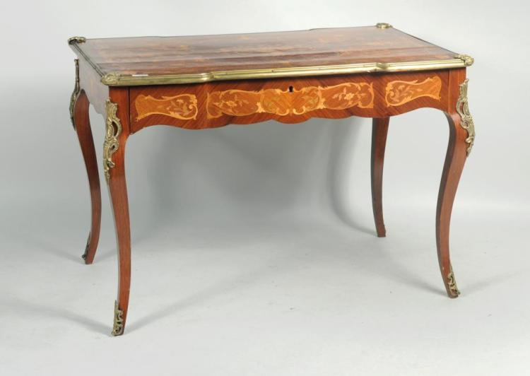 Louis XV Style Marquetry Inlaid Writing Desk
