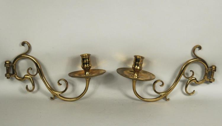 Pair Vintage Brass Turned Scrollwork Wall Sconces