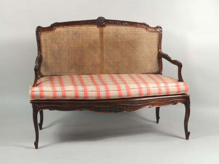 Carved Walnut Louis XV Style Settee