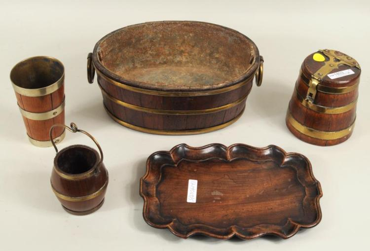 Group Four Brass Bound Wood Containers