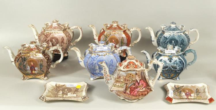 Seven English Porcelain Transfer Decorated Teapots