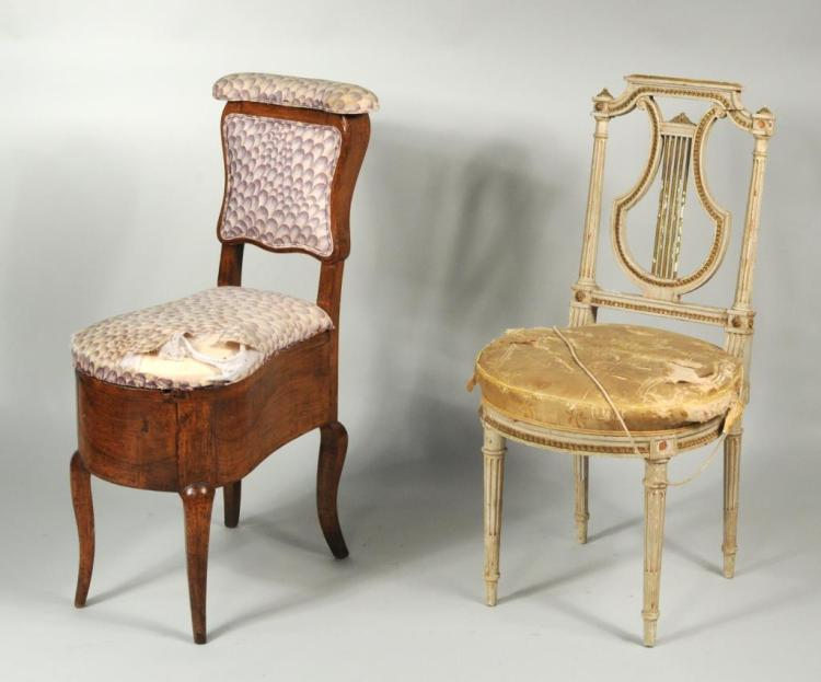 French Painted Lyre Back Chair w/Convenience Chair