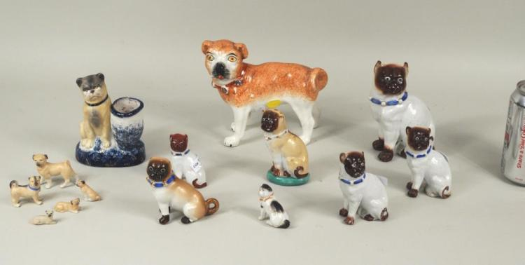 Group 14 Porcelain & Bisque Pug Figures