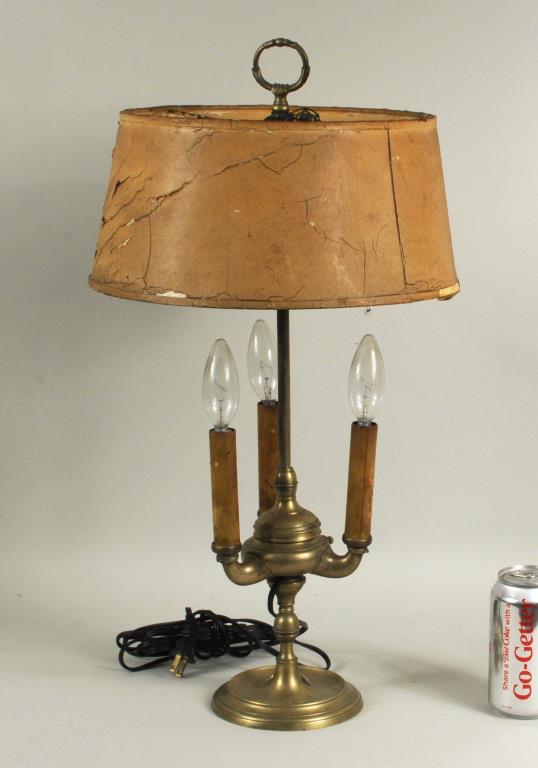 Brass Three Light Oil Lamp On Turned Base