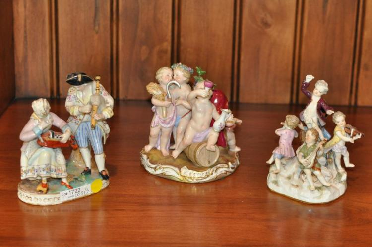 3 Continental Porcelain Groups Including Meissen