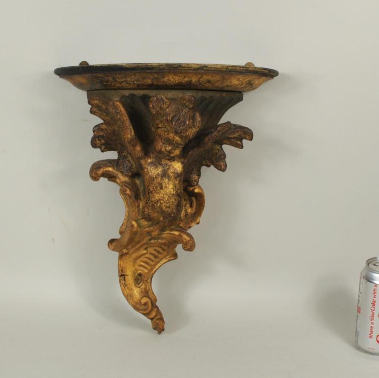 Carved Gilded, Polychromed Putti Form Wall Bracket