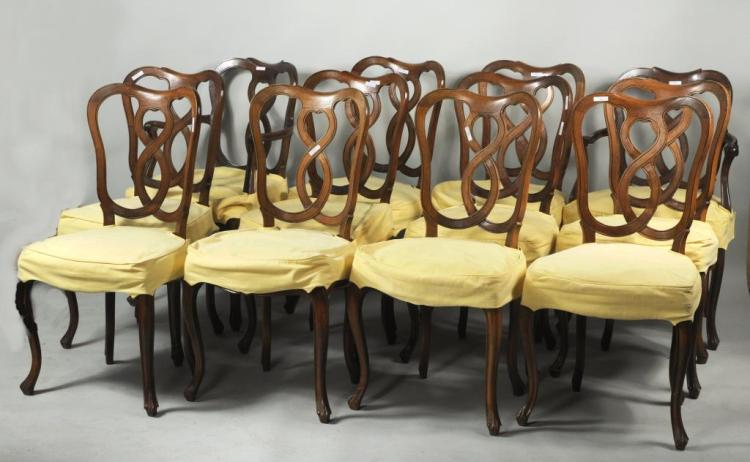Set 12 Italian Carved Walnut Rococo Style Chairs