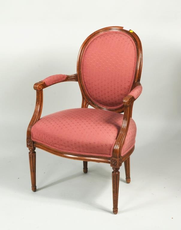 Louis XVI Style Walnut Fauteuil