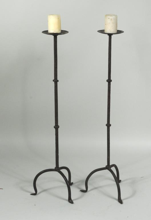 Pair Wrought Iron Candlestands On Tripod Bases
