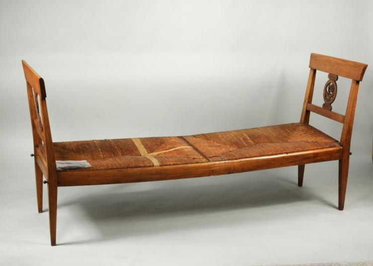 French Provincial Carved Walnut & Fruitwood Daybed