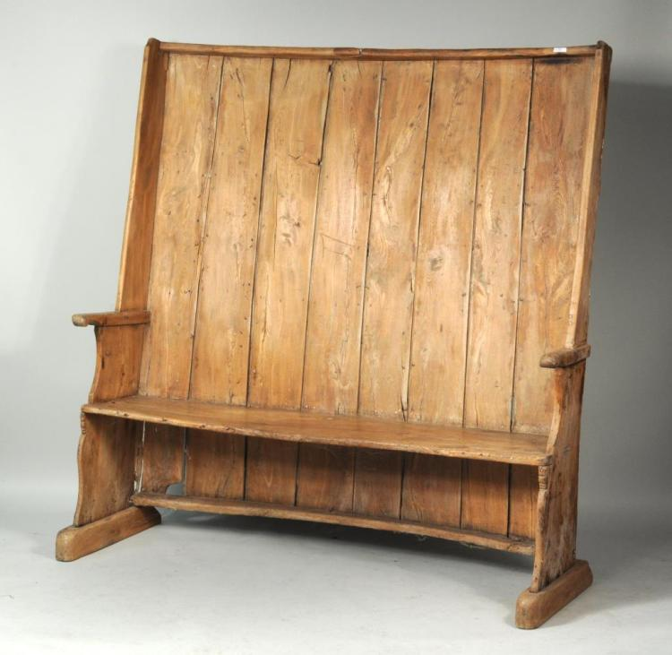 Irish Paneled Settle With Curved Back