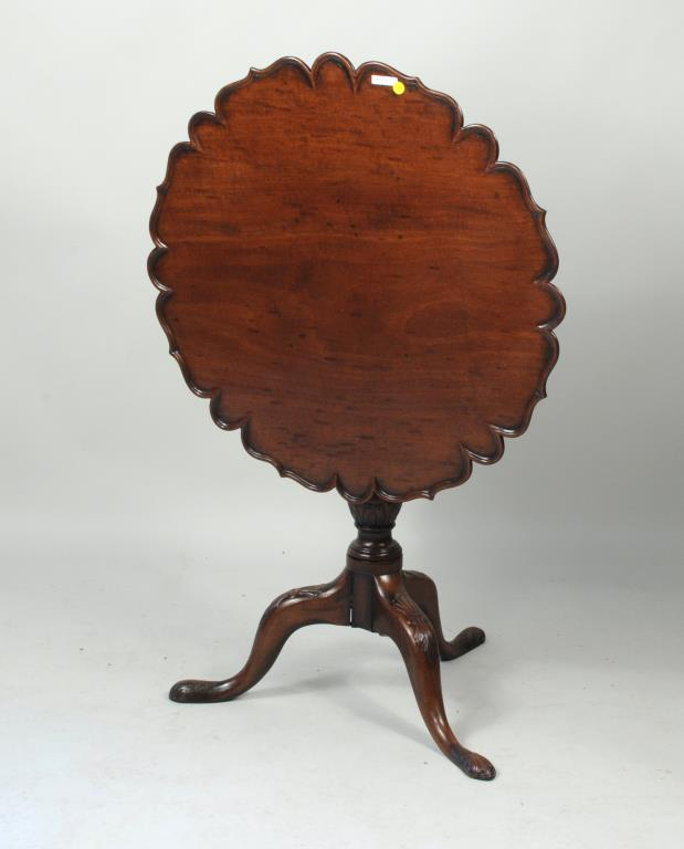 Georgian Carved Mahogany Piecrust Tea Table