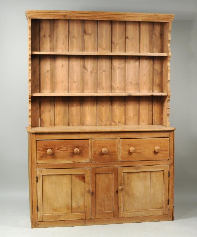 Vintage Two Part Pine Pewter Cupboard