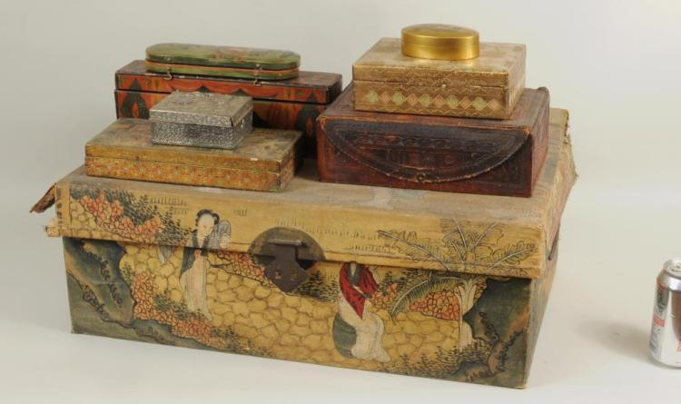 Group Eight Antique Boxes, One Chinese