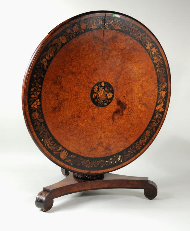 Dutch Regency Marquetry & Inlaid Center Table