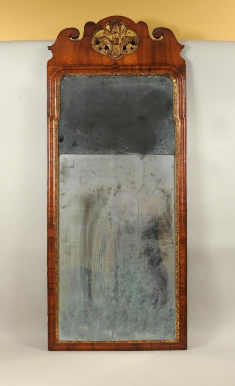 Queen Anne Walnut & Gilt Mirror