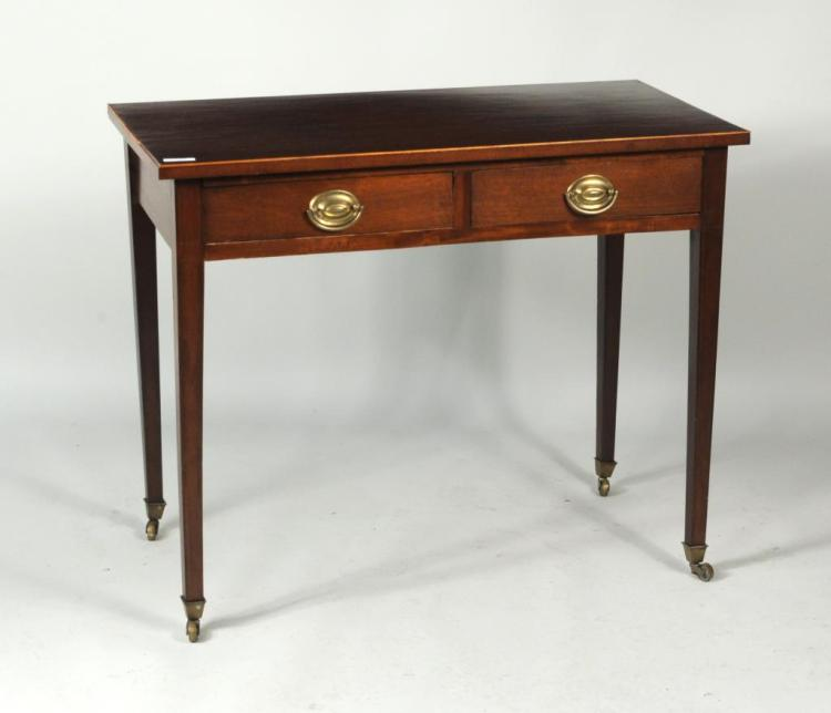George III Mahogany Two-Drawer Side Table