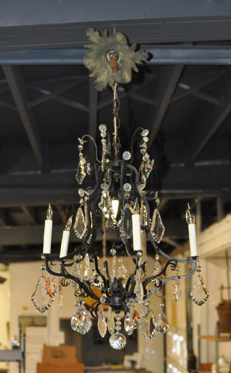Wrought Iron & Cut Glass Chandelier