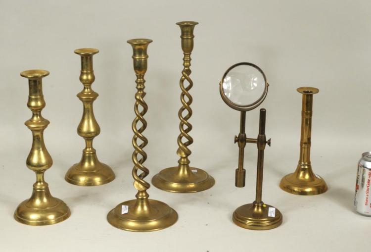 Group Brass Candlesticks