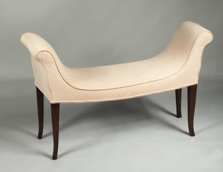 Hepplewhite Style Upholstered Window Seat