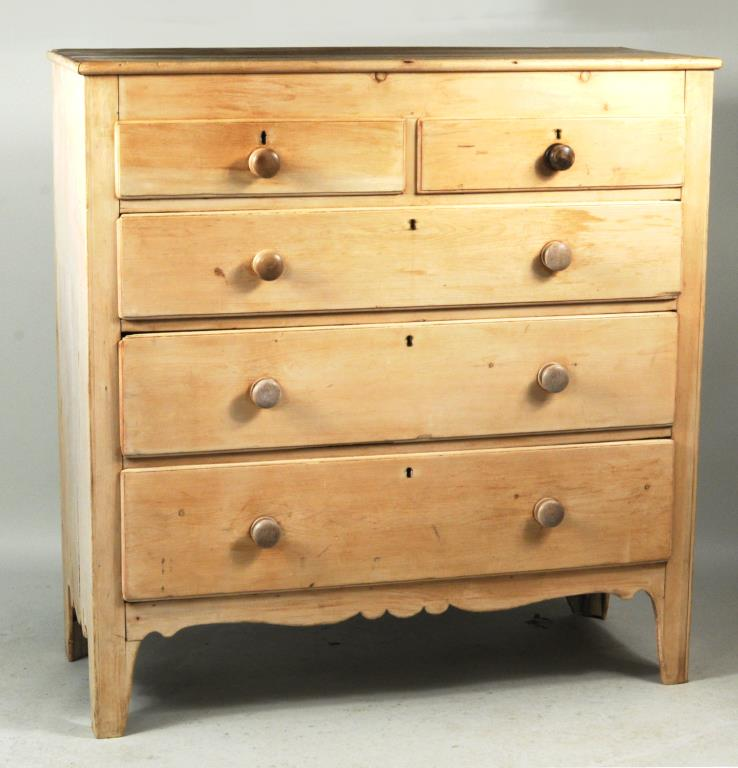English Stripped Pine Chest Of Drawers