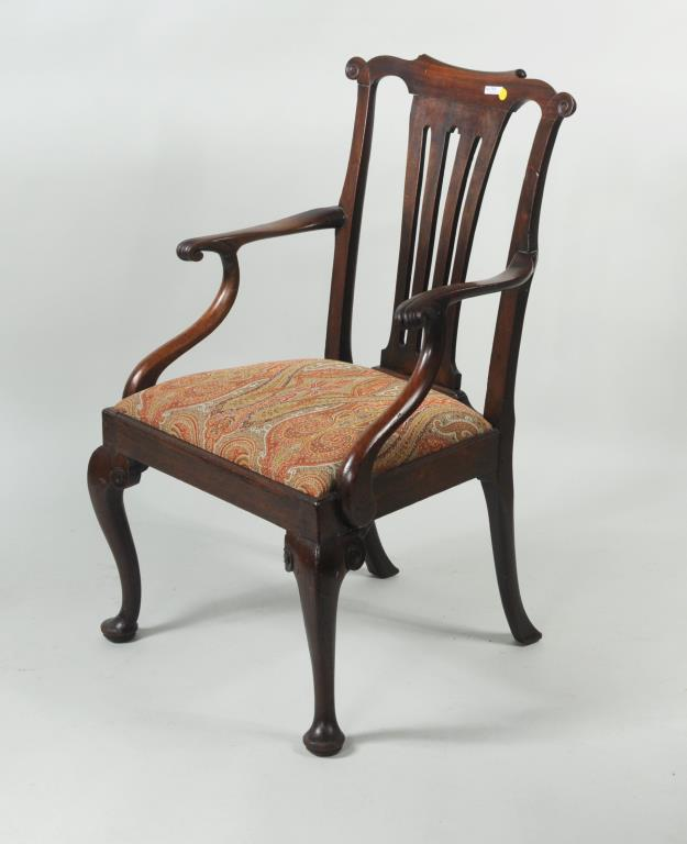 George II Carved Mahogany Open Arm Chair