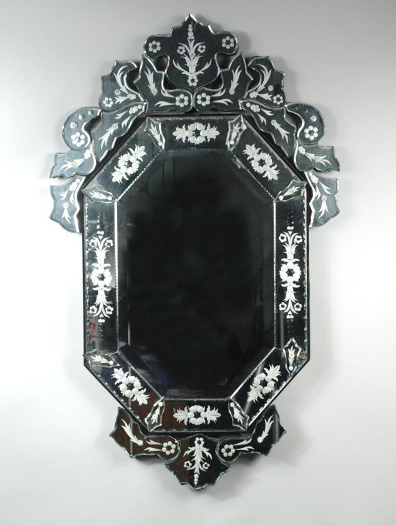 Venetian Style Glass Framed Mirror